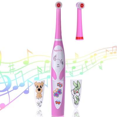 Детская электрическая зубная щётка BabySmile Girl (2 сменные насадки для детей, 8800 оборотов в мин., музыкальный таймер на 4 мелодии, эргономичная ручка)